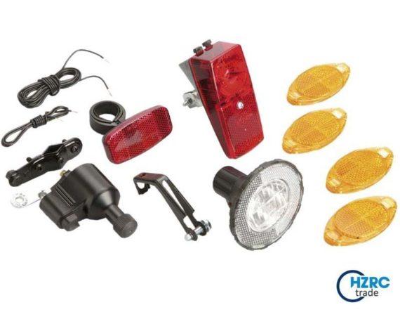 Profex Beleuchtungs-Set Fahrrad-Aufrüstset Dynamobetrieben 12-teilig
